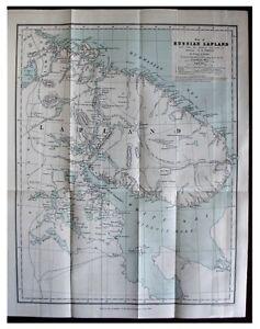 1880-Temple-LITTLE-KNOWN-RUSSIAN-LAPLAND-Karelians-COLOR-MAP-Wrappers-10