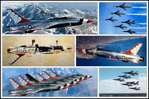 USAF-Thunderbirds-In-F-105B-Thunderchiefs-1964-Aircraft-Photo-Collage