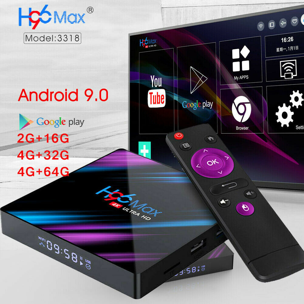 US H96 Pro MAX 4GB+64GB Android 9.0 TV Box USB3.0 HD Smart Network Media Player android box h96 max media network player pro smart