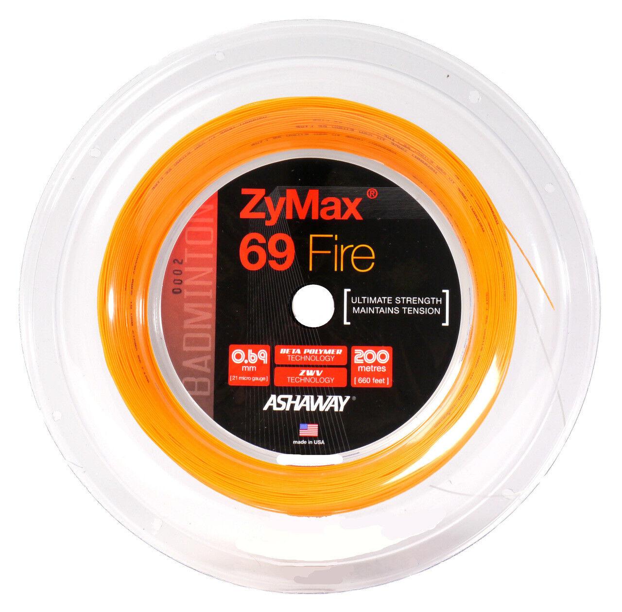 ASHAWAY ZyMax 69 69 ZyMax Fire Badminton String 200m Reel 6dfa1d