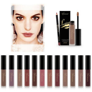 Matte-Lipstick-Makeup-Long-Lasting-Waterproof-Lip-Liquid-Pencil-Gloss-Liner-Set