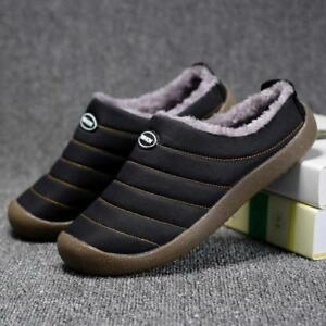 Men-Cotton-House-Slippers-Warm-Fur-Lined-Slip-on-Shoes-Outdoor-Indoor-Slides-New