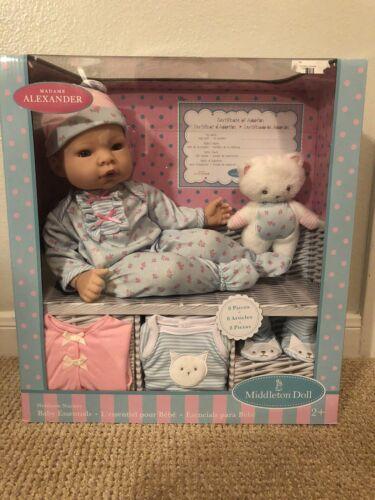 "NEW Madame Alexander Newborn Nursery Gift Set 16"" Middleton Soft Body Baby Doll"