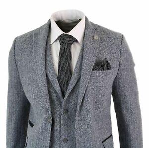 Mens-Light-Grey-3-Piece-Tweed-Suit-Herringbone-Wool-Vintage-Retro-Formal-Suits