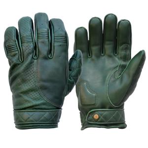 Goldtop Racing Green Mens Leather Short Bobber Cruiser Ce Motorcycle Gloves Ebay