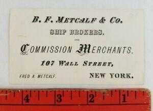 Vintage 1900's Ship Brokers Merchants New York Business Card