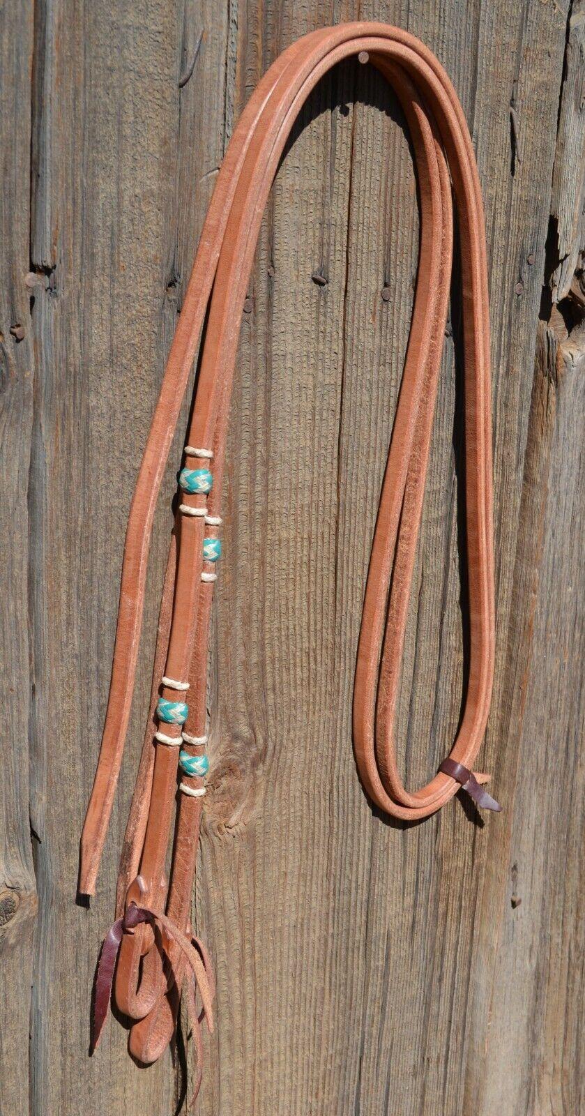 58Jose Ortiz Harness Split Reins Braided NaturalTurquoise Rawhide Knots 8 ft.