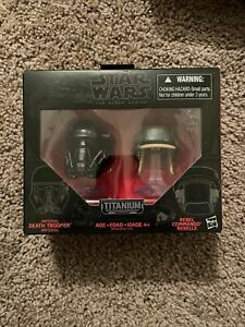 Star Wars #06 Black Series Titanium Helmets DEATH TROOPER & REBEL COMMANDO - NEW