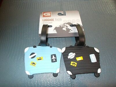 3c1365723323 G FORCE SET OF 2 MATCHING LUGGAGE TAGS 2 SUITCASES - BLACK AND LIGHT BLUE  633125112923 | eBay