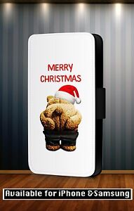 Merry-Christmas-Xmas-Funny-Quote-Ted-Art-Faux-Leather-Flip-Phone-Case-Cover-Y107