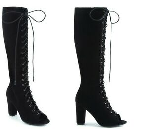 WOMENS-LADIES-KNEE-HIGH-OVER-THE-KNEE-PLATFORM-LACE-UP-BOOTS-BLOCK-HEEL-SIZE-UK