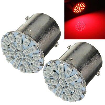 2x Red 1156 BA15S 1206-22 SMD LED Car Stop Tail Light Turn Brake Lamp Bulb 12V