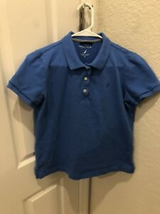 Womens-Nautica-Blue-Short-Sleeve-Polo-Shirt-Top-Blouse-Size-M-Medium