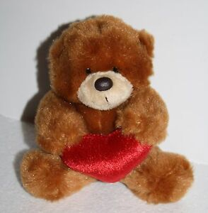 Valentine-TEDDY-BEAR-5-034-Aurora-People-Pals-Stuffed-Animal-Toy-Plush-Red-Heart