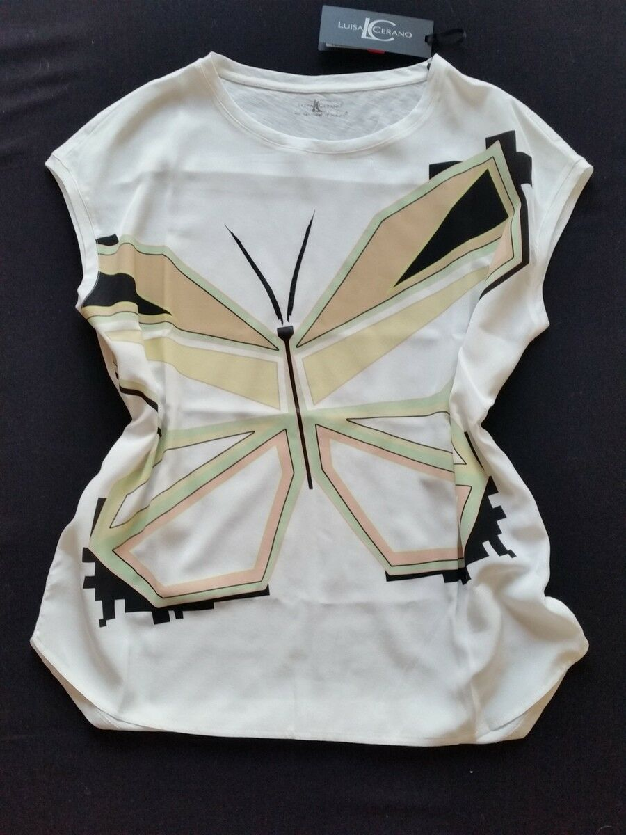 LUISA CERANO Blause Seide Baumwolle Schmetterling Gr.38--UK12NEU
