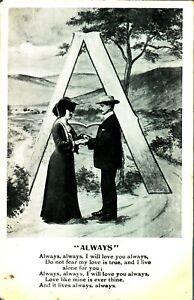 Always-love-song-poem-card-postcard-antique-monochrome-printed-valentine