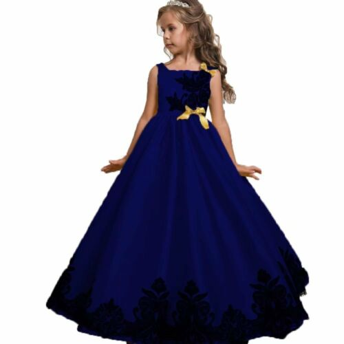 Flower Girl Dress For Kid Communion Party Prom Princess Bridesmaid Wedding Gown