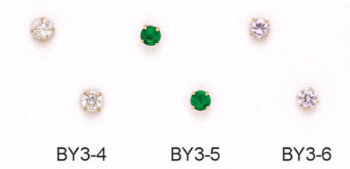 Multiple Colors//Birthstones 14K Yellow Gold Round Cut 3MM Stud Earrings
