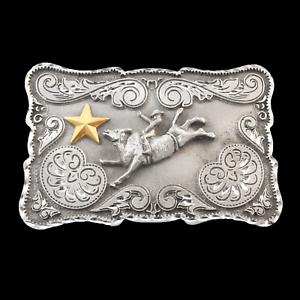 BULLRIDER TWO TONE BELT BUCKLE 13101 bull rodeo western pewter belt buckles