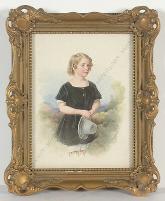 """Franz Wolf (1795-1859) """"Portrait of a girl"""", high quality watercolor, 1850"""
