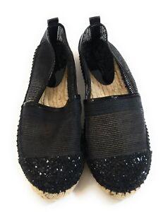 87b36e2fa Jimmy Choo Women Black Glitter Loafers Slip On Espadrille Flats ...