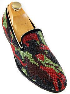 Noir Style Rouge Strass Slipon Robe Camouflage Fiesso Hommes Soir Vert n4AwO1