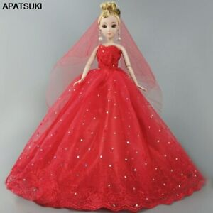 Red-Dress-For-Barbie-Dolls-Clothes-Party-Gown-Wedding-Dresses-Outfits-For-Barbie