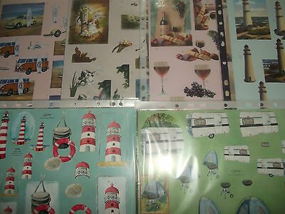 Lighthouse Surfing Various Designs 2 x A4 NDC Decoupage Mens Wine Camping