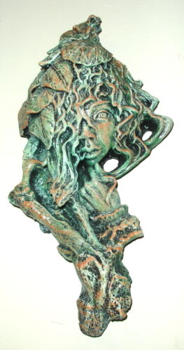 Vintage Green Man Woman Leaf Tree Face Male Female Greenman Wall Hanging Plaque
