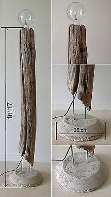 Lampe En Bois Flotte Sur Pied Beton Creation Unique Ebay