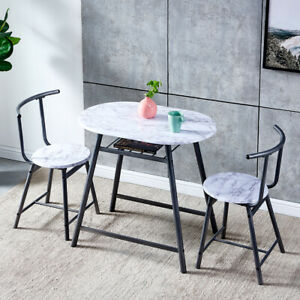 Set Of 3 Dining Table 2 Chairs Breakfast Bar Table For 2 Person Home Cafe Bar Ebay