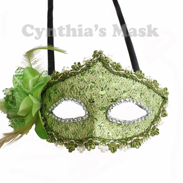 Lime Green Venetian Floral Masquerade Mask Party Prom Mardi Gras Halloween