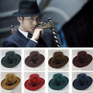 Men-Women-Wool-Hard-Felt-Round-Fedora-Cap-Crushable-Vintage-Short-Wide-Brim-Hat