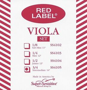 """Ordonné Super Sensitive Red Label 14"""" Viola String Set-afficher Le Titre D'origine Bonne Conservation De La Chaleur"""