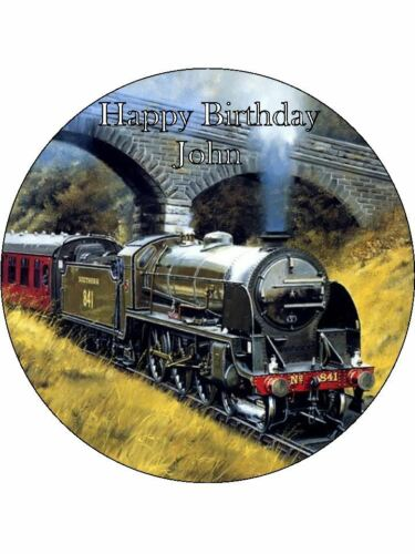 """7.5/"""" Steam Train Personalised Edible Icing Cake Topper"""