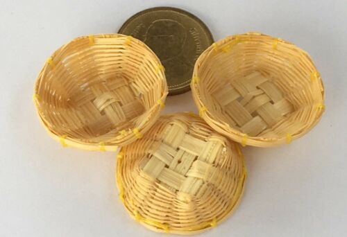 1:12 Scale 3 Bamboo Baskets 2.5cm Diameter Tumdee Dolls House Food Accessory Bvs