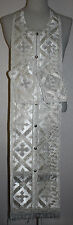 """Russian Orthodox Communion Priest Set Stole and Cuffs White Silver  44"""" (112 cm)"""