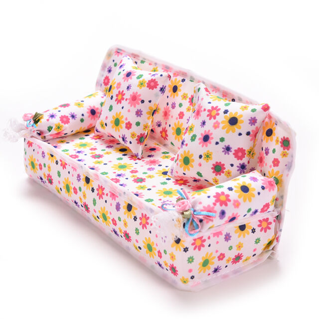 1x Mini Furniture Sofa Couch +2 Cushions For Barbie Doll House Accessories FE