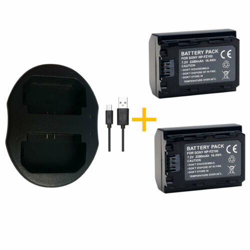 ILCE9, ILCE-7RM3 A9 A9B 2X NP-FZ100 Battery Charger for Sony Alpha a7R III
