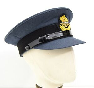 British-Royal-Air-Force-RAF-Officers-Peak-Cap-With-Badge-Kings-Crown-WW2-Repro
