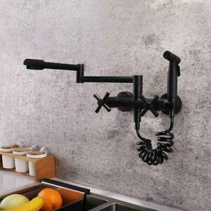 Modern Matte Black Wall Mount Pot Filler Kitchen Faucet Hot Cold With Sprayer Ebay