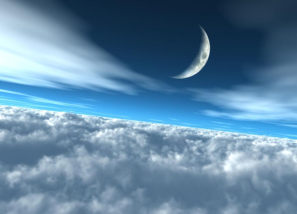 Wall mural WALLPAPER bedroom & living room Moon over clouds 72x100 inch - Blau