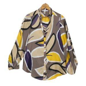 DVF-Diane-Von-Furstenberg-Purple-Yellow-Karia-Silk-Top-Size-2