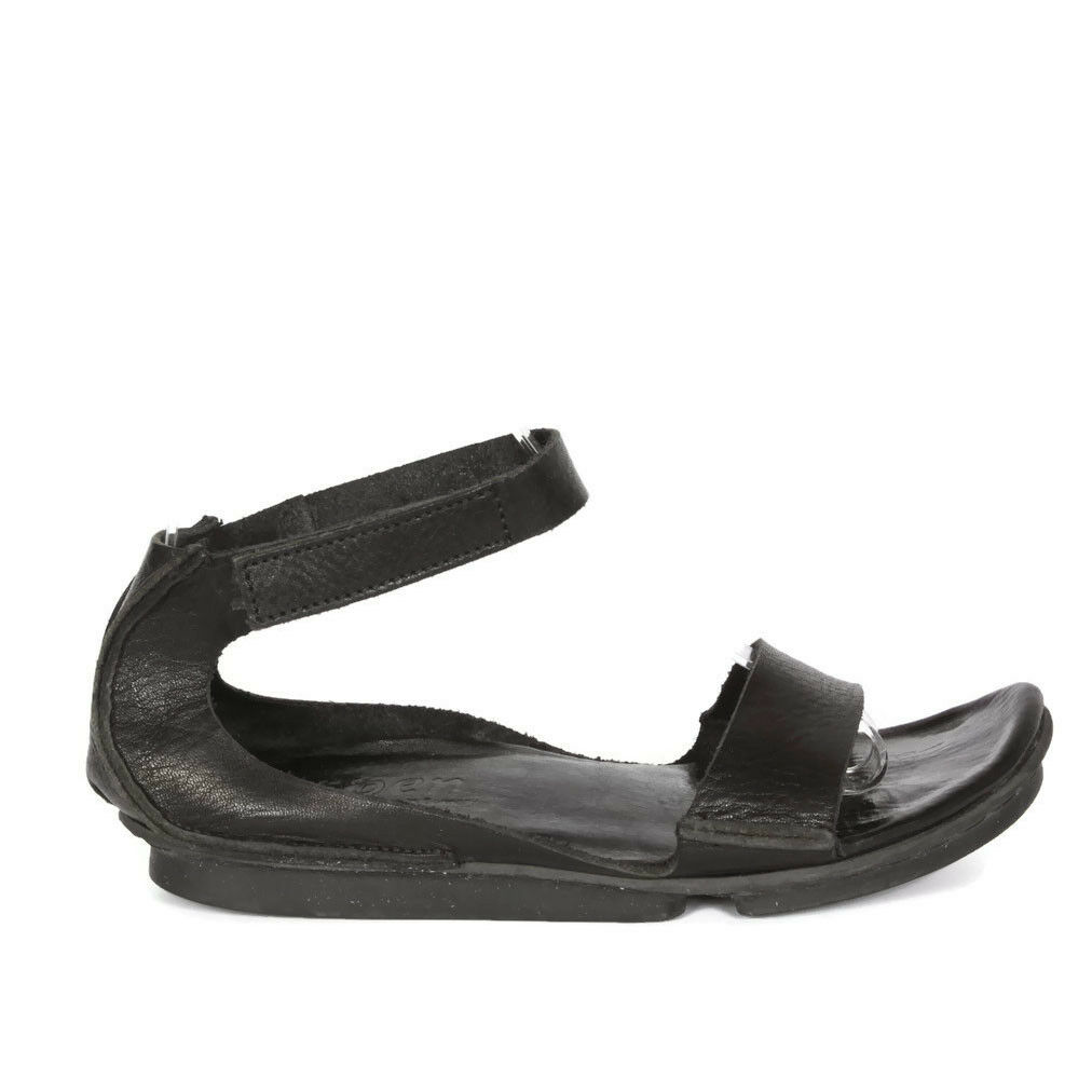 TRIPPEN Germany Black Leather Women's Sandals FAUSTINA Ankle Strap sz 6.5/7