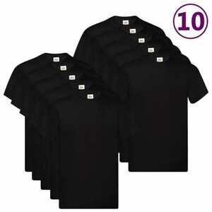 Fruit-of-the-Loom-10x-Original-T-shirts-Black-L-Cotton-Basic-Top-Casual-Shirts
