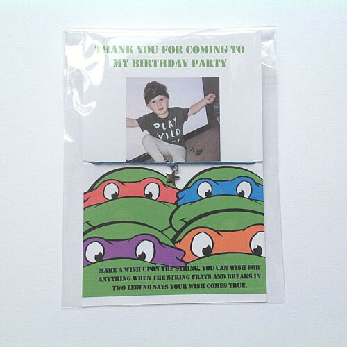 Personalised Photo Ninja Turlest Wish Bracelets Birthday Party Bag Fillers Boys