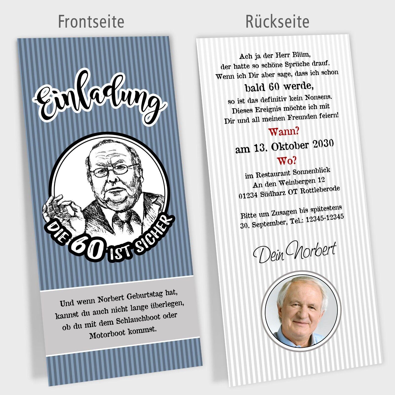Einladungskarte Geburtstag, Politiker Cartoons, Modell Norbert  – personalisiert   | Schnelle Lieferung  | Gewinnen Sie hoch geschätzt