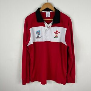Rugby World Cup Japan Jersey Mens Large Red White Long Sleeve Collared