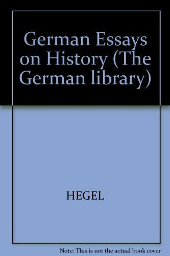 GERMAN ESSAYS ON HISTORY (GERMAN LIBRARY) By Rolf Saltzer - Hardcover EXCELLENT
