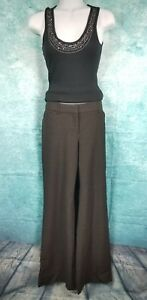 Express-Women-039-s-Solid-Dark-Brown-Editor-Pants-Flare-Low-Rise-Career-Dress-Size-8